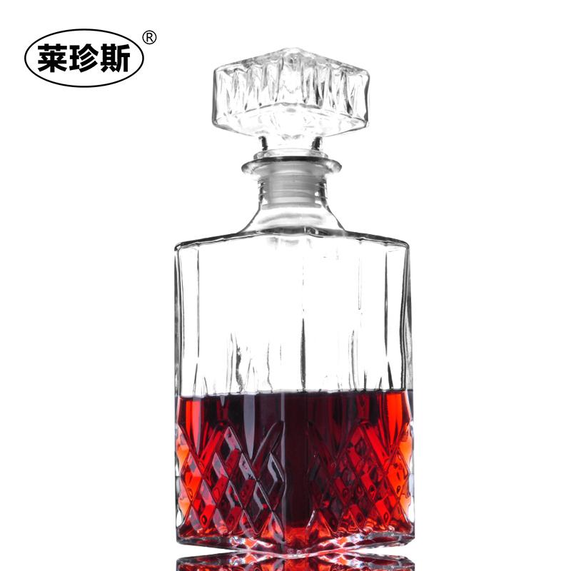 水晶玻璃酒瓶酒樽红酒酒瓶醒酒器方酒瓶红酒具酒壶酒坛钻石玻璃瓶