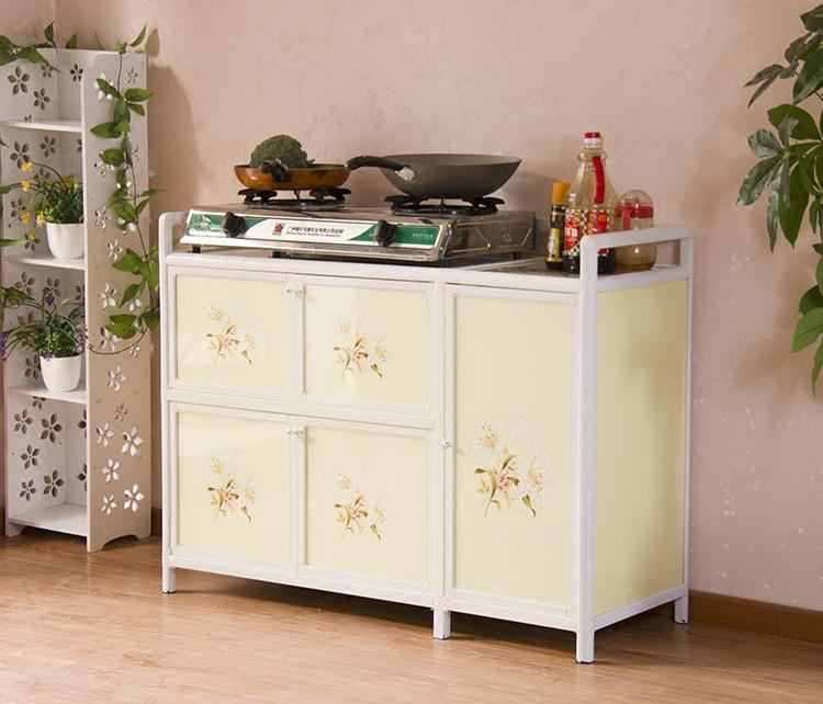 简易组装多功能碗柜厨房柜铝合金灶台柜储物柜微波炉柜简约茶水柜