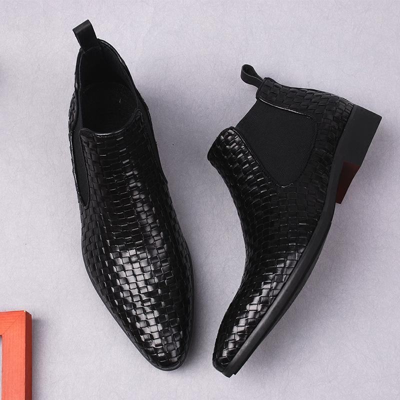 欧美手工编织男鞋真皮高帮鞋男士商务正装皮靴尖头短靴切尔西男靴