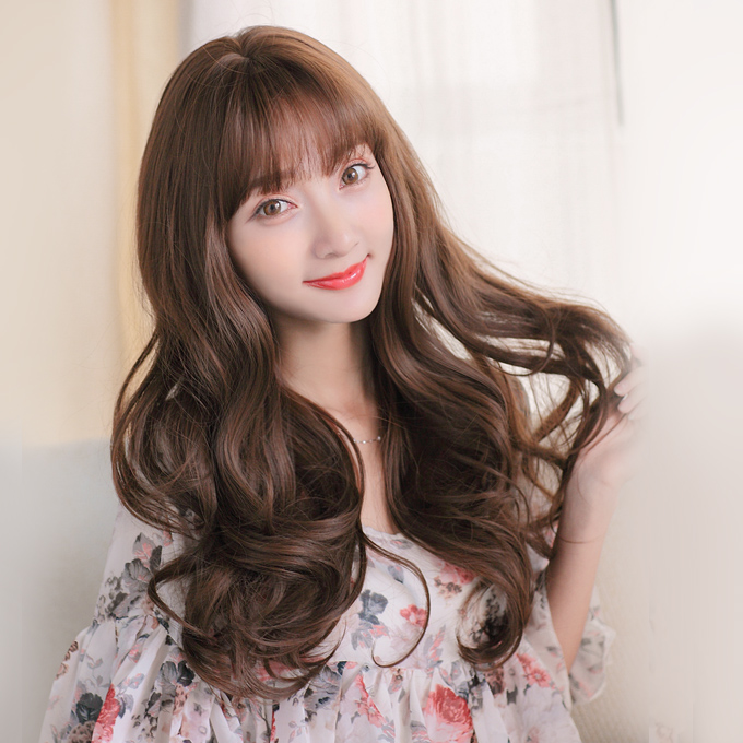 Buy Air Fake Bangs Long Curly Hair Big Wave Of Long Curly Hair Wig
