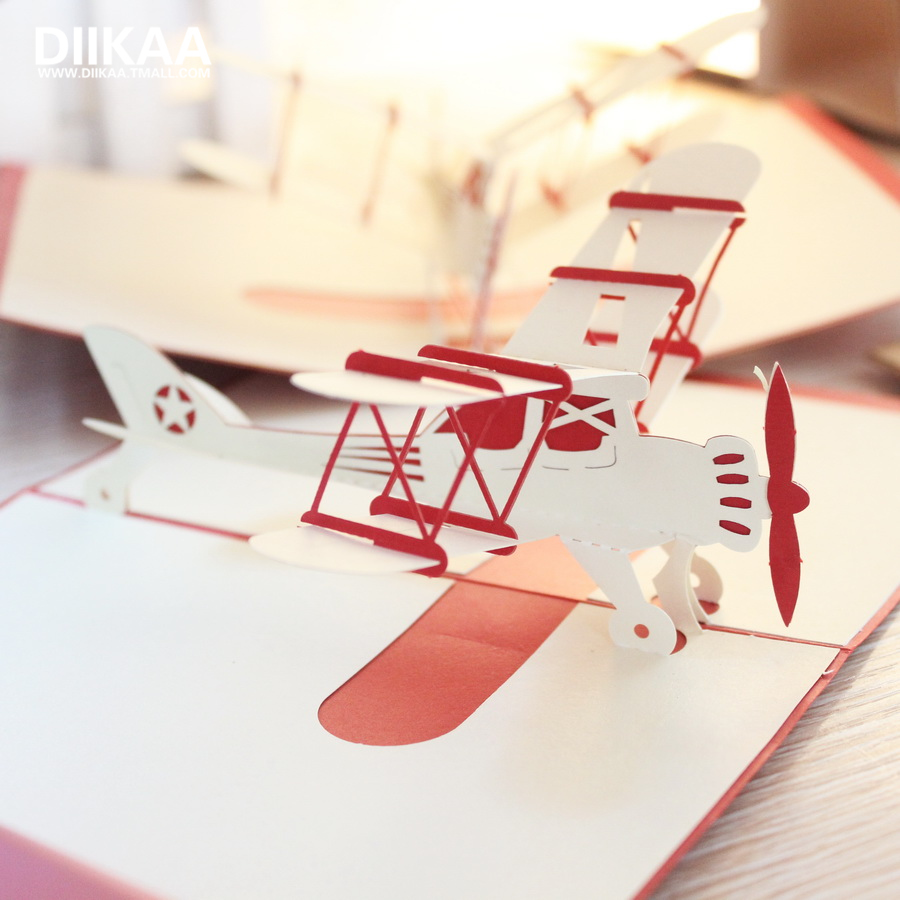 Buy Aircraft Stereoscopic 3d Handmade Greeting Cards Folded Paper