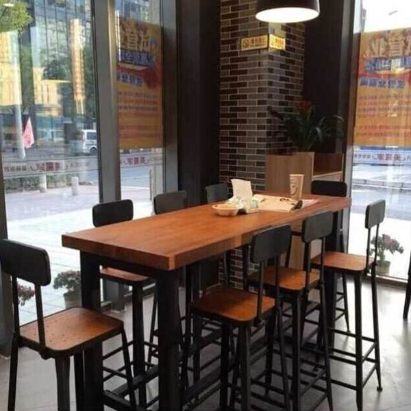 Buy American Iron Loft Wood Long Table Starbucks Tall Bar Chairs Bar - Long bar table with stools