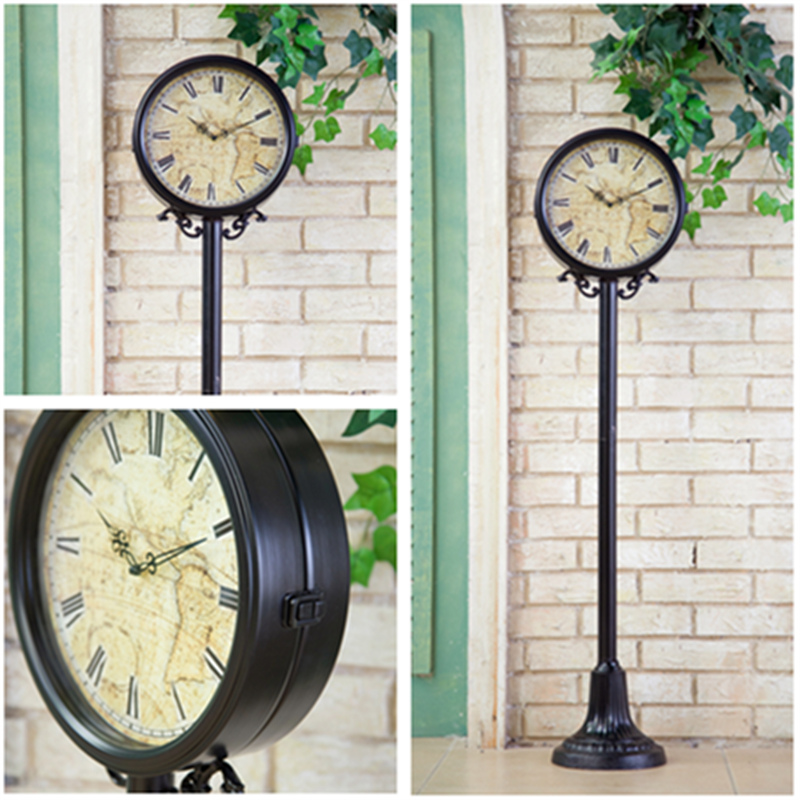 Buy American Retro Black Wrought Iron Decorative Table Clock Large