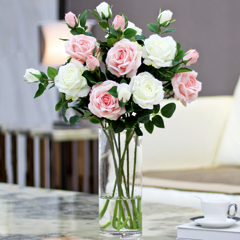 Artificial Flowers White Rose Flower Single Branch Bouquet Of Dried Living Room Furnishings Interior Decorations