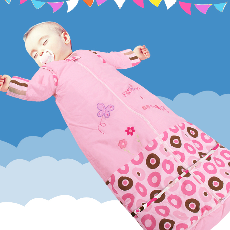 Autumn And Winter Cotton Baby Sleeping Bag Children Anti Tipi Infants Young Grow Up Detachable Sleeves Lengthened