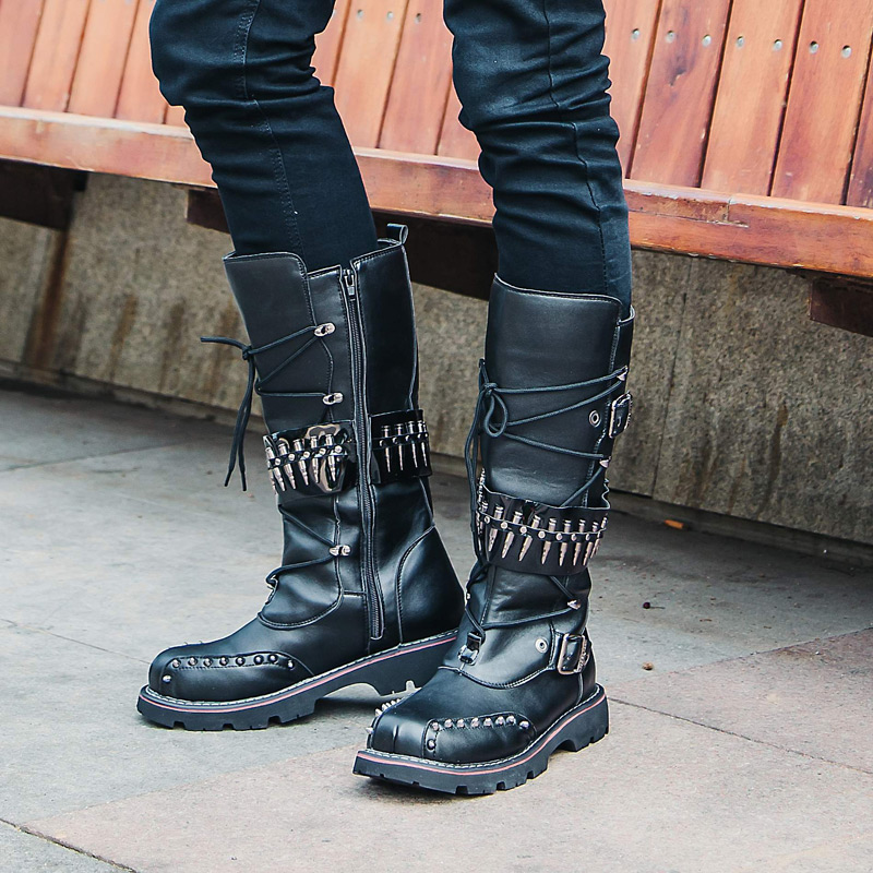 430c23226e6 Buy Autumn and winter fashion punk metal boots tall canister male ...