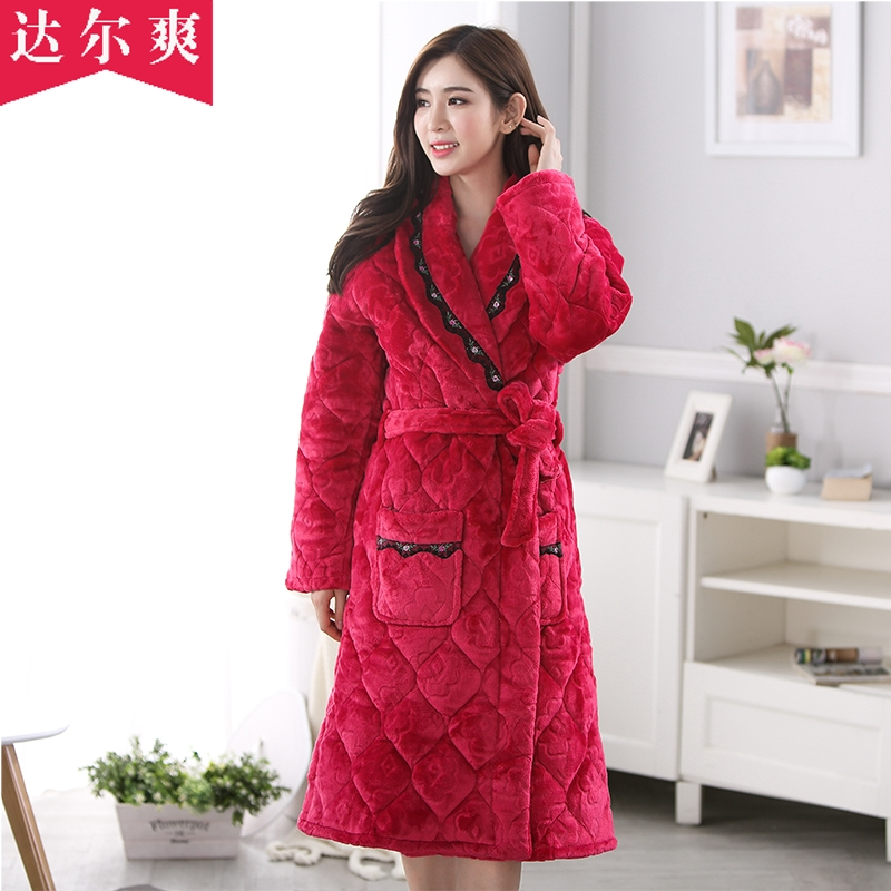 c92a9adbe7 Buy Autumn and winter triple thick quilted flannel pajamas lovely ms. coral  velvet quilted robe bathrobe big yards in Cheap Price on m.alibaba.com