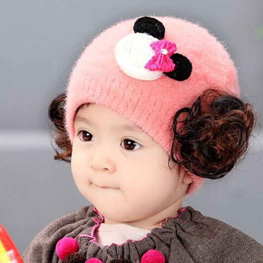 e04c311e89f00 Buy Baby hat baby hat autumn and winter newborn baby infant baby hat plush  hat wig cap child hat princess hat in Cheap Price on m.alibaba.com