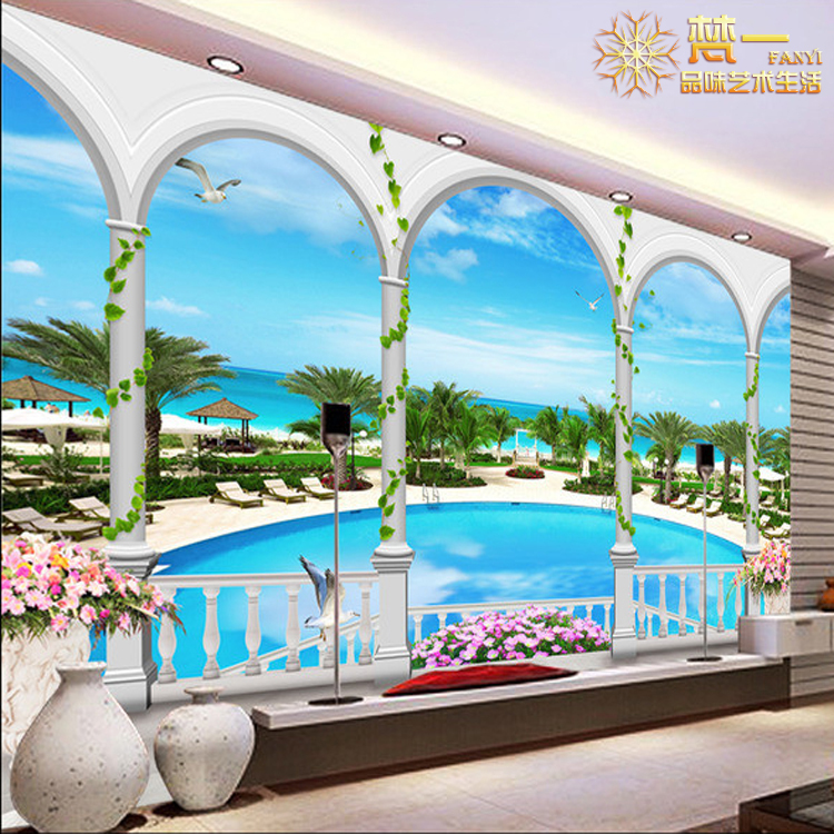 Buy Beach Scenery Wallpaper Continental 3d Stereoscopic Large Mural Bedroom Living Room Sofa Tv Backdrop In Cheap Price On