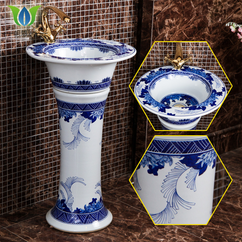 Blue And White Porcelain Ceramic Pedestal Basin Integrated Health Bath Wash Sink Bathroom Floor Balcony In Price On M Alibaba