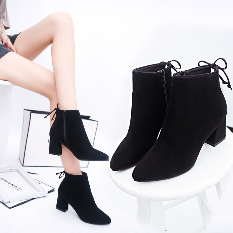 8e6b6d499c3f British style autumn and winter 2016 new thick with wild pointed boots high boots  women s boots with ankle boots martin boots women