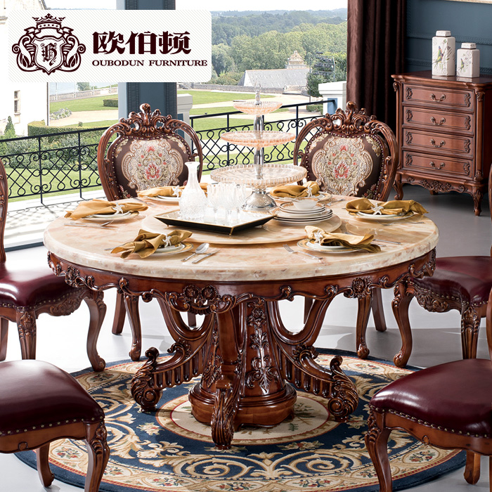 Burton Europe European Natural Marble Dining Table Round And Six Chairs All Solid Wood American Dinette Combination Of In