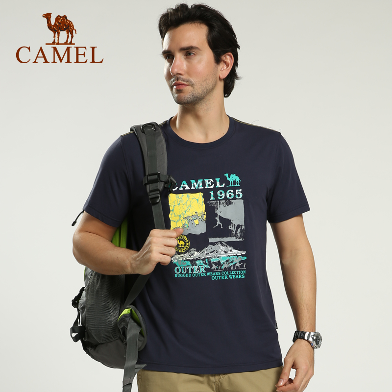 bd28a98ecd Camel camel outdoor men s casual round neck short sleeve t-shirt 2016 spring  and summer new printing cotton t-shirt authentic clothes
