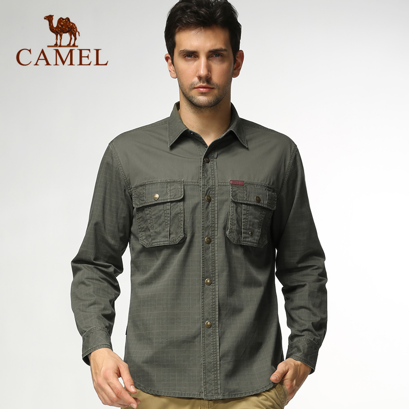 ea4cbcd9379 Buy Camel outdoor leisure clothing new men  39 s long sleeve cotton shirt  lapel casual men  39 s shirts genuine 3s13061 in Cheap Price on  m.alibaba.com