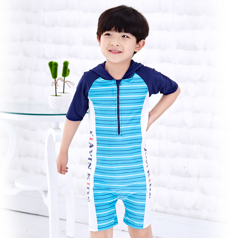 242c27036 Children piece swimsuit boy swimsuit piece swimsuit sunscreen baby striped  swimsuit beach clothes hooded