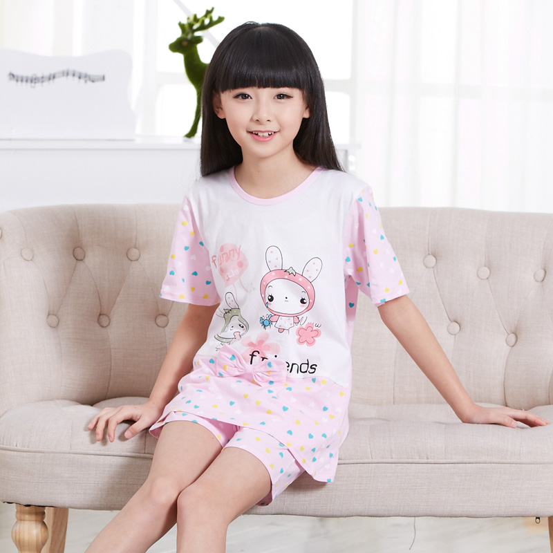 Children s pajamas girls short sleeve cotton summer suit kids pajamas baby  pajamas children tracksuit suit a3a24954d