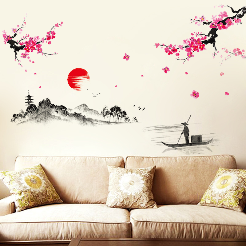 Buy Chinese Ink Painting Flowers And Birds Living Room Wall Stickers