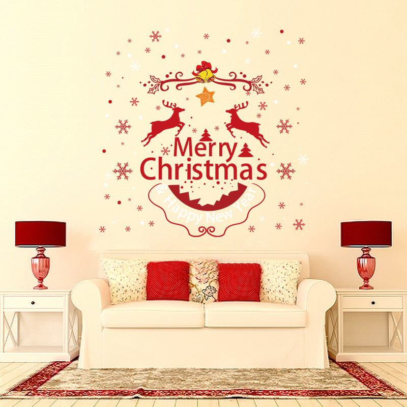 Buy Christmas Decorations Storefront Shop Window Glass Stickers Bedroom  Wall Stickers Window Stickers Door Stickers Affixed Adhesive Wall Sticker  Wallpaper ...