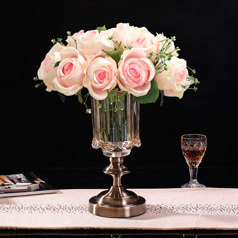 Clical European Gl Vase Suit Artificial Flowers Roses Fl Decoration Living Room Coffee Table Dining