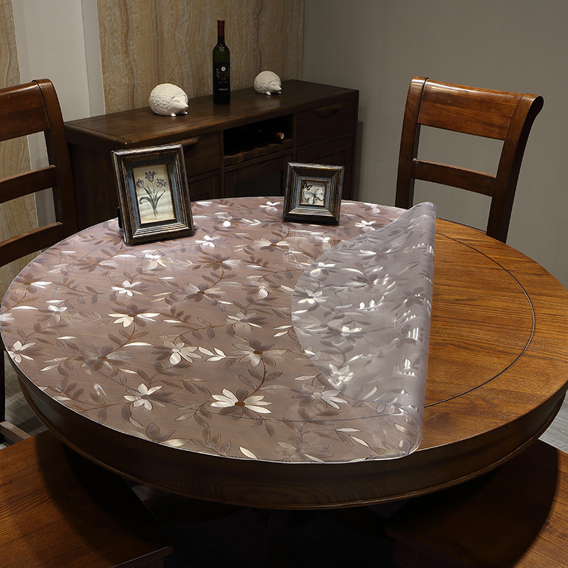 Cool Custom pvc round tablecloth waterproof oil resistant high temperature thick soft transparent frosted glass round table mat crystal plate Photo - Inspirational soft coffee table Model