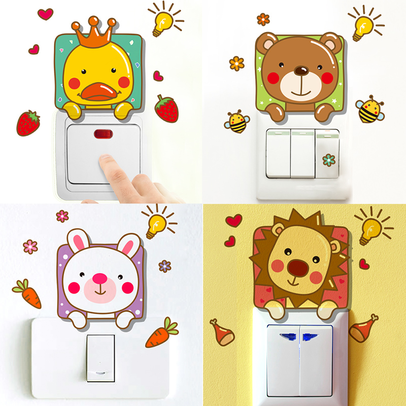 Buy Cute Animal Cartoon Switch Stickers Socket Wall Stickers