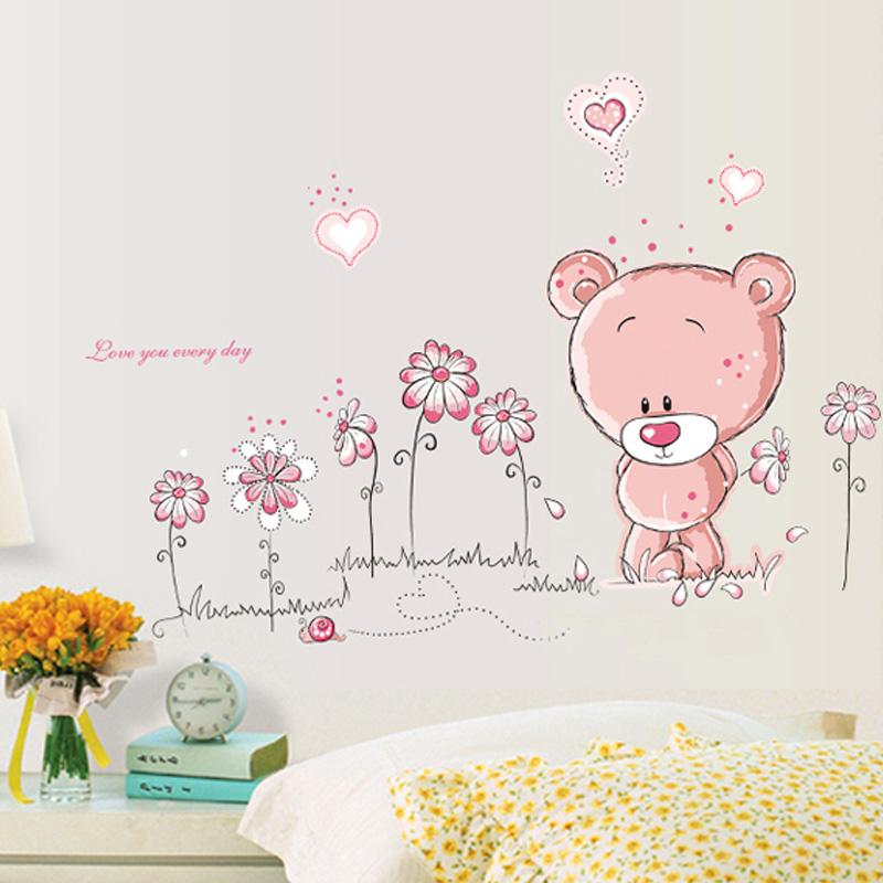 Cute bear children\'s bedroom wall stickers home decor bedside creative  cartoon sticker living room tv backdrop stickers