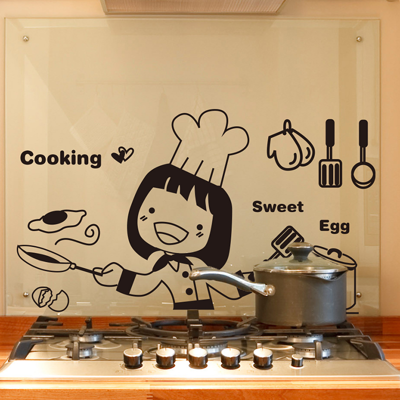 Buy Removable wall stickers restaurant kitchen stove wall decoration ...