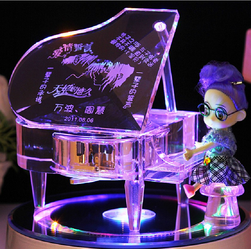 Buy Crystal piano music box music box creative birthday gift to