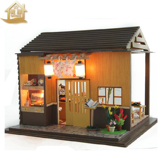 Buy Diy Hut Sakura Flower Handmade Sushi House Creative Toys Assembled Wooden Model To Send A Birthday Gift In Cheap Price On Malibaba