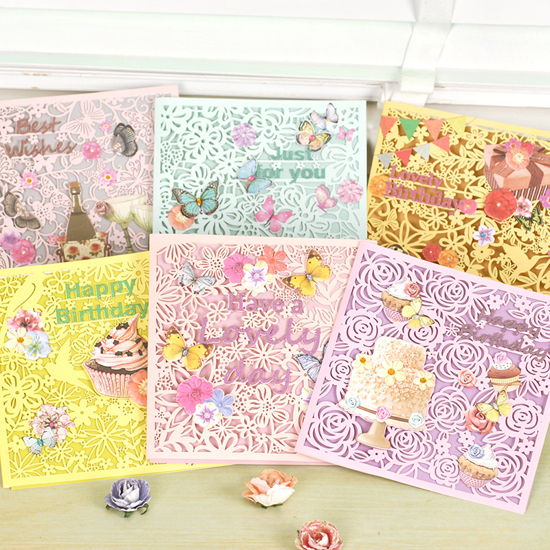 Buy Dreamday Decalcomania Li Carving Glitter Greeting Cards Flowers