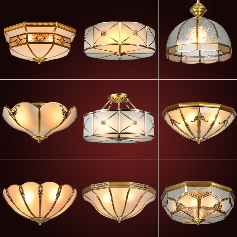 Buy European retro bedroom lamp led lights all copper copper copper ...