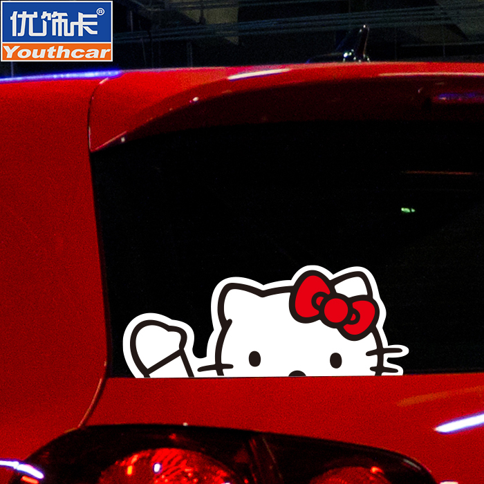 8b8ab3f2d Buy Excellent decorative card hello kitty kitty car stickers car stickers  cute funny car decoration stickers reflective stickers peeping in Cheap  Price on ...