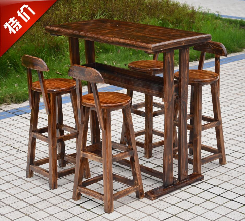 Buy factory wholesale wood bar stool coffee tables and chairs tall bar tables and chairs combination of outdoor patio suite charcoal in cheap price on