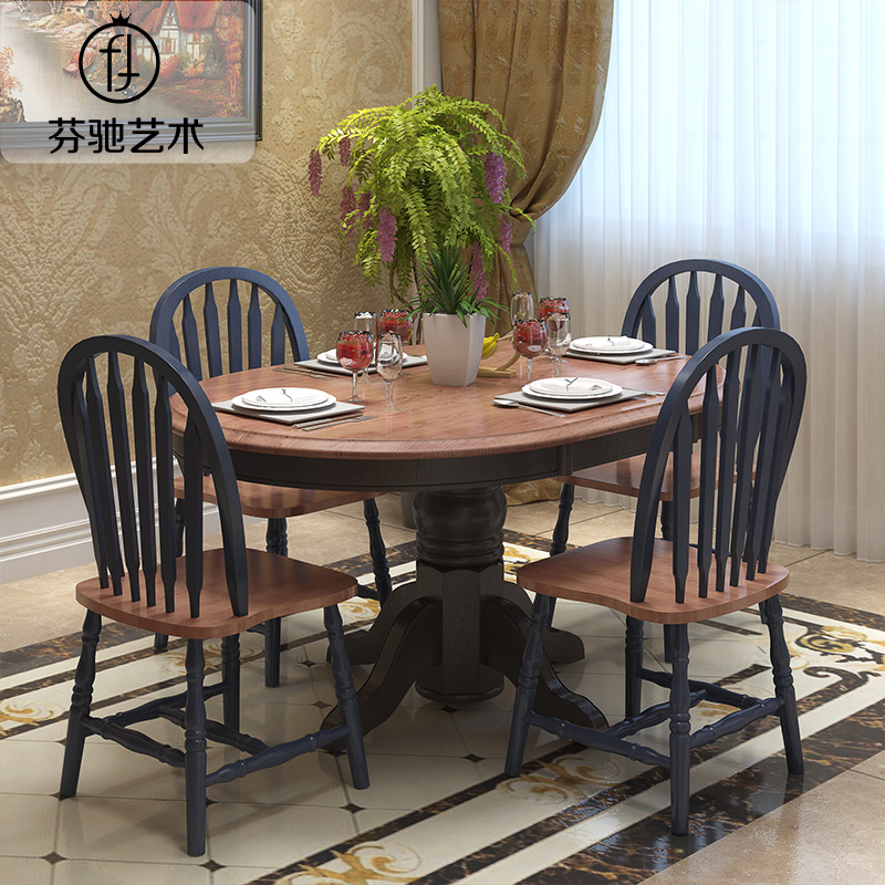 Buy Fen Chi Apartment Size Dining Table Mediterranean American Country Wood Dining Table Large Round Table Can Stretch Shrink Wood Dining Table In Cheap Price On Alibaba Com