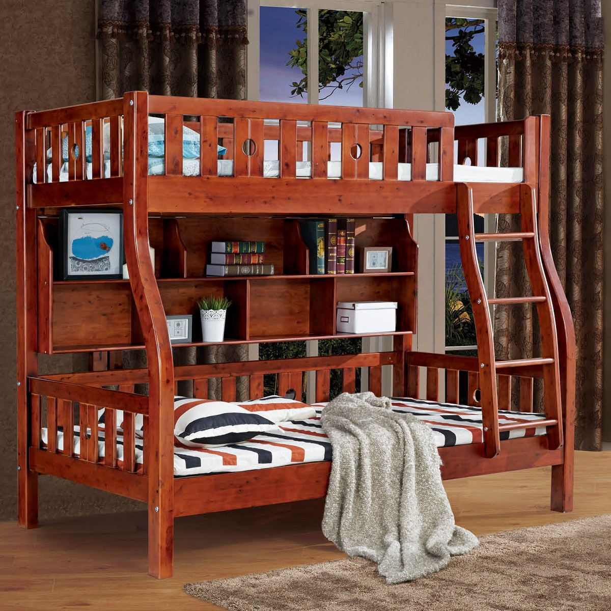 Five Packets Of Home Pure Cedar Wood Children Step Ladder Bunk Bed Picture With Bookshelf In Price On M Alibaba