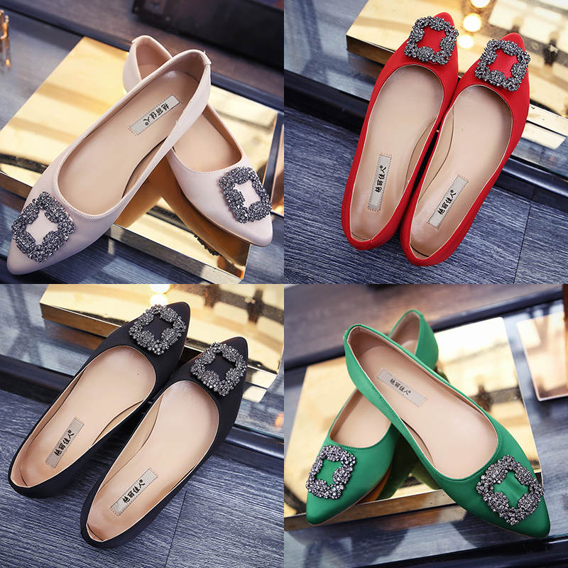 73da2d284680a Buy Gorgeous beauty mb black square buckle pointed flat shoes female spring  and summer 2016 shoes tide water drilling shallow mouth occupation shoes in  ...