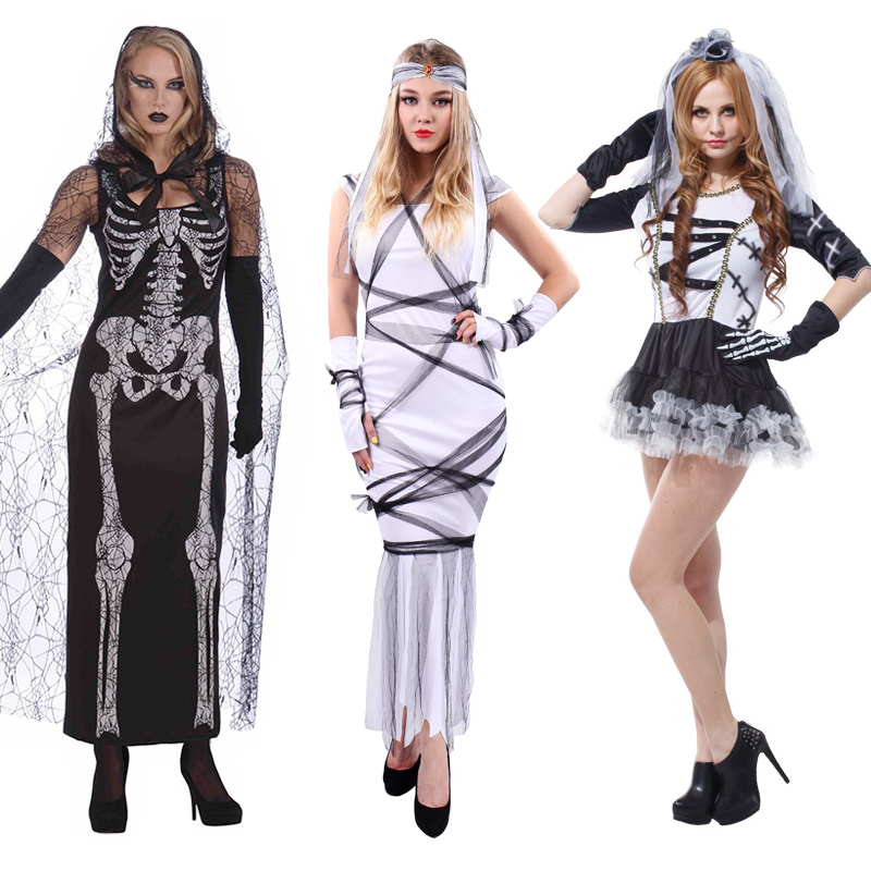 d63896dc0acd7 Halloween halloween play adult female skull rack clothing zombie zombie  horror ghost ghost bride costume cosplay
