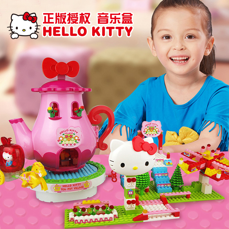 003d6aa45b0a Hello kitty hello kitty girl toy building blocks building blocks assembled  puzzle clockwork music box toys kai hello kitty flower shop