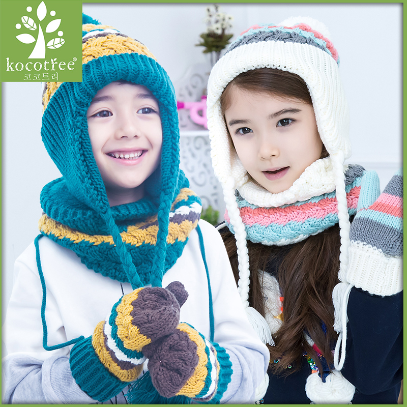Korea kk tree fall and winter baby hat baby hat scarf suit hand sets of three  sets of children s hats winter hat scarf to keep warm tide ddc54cbffd84