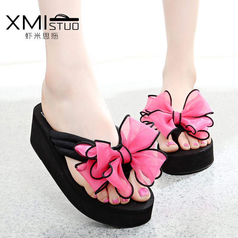 1aa48d5f91592d Buy Korean version of the influx of summer bow slope with platform heels women  sandals slip sandals flip flops sandals fashion sandals and slippers in  Cheap ...