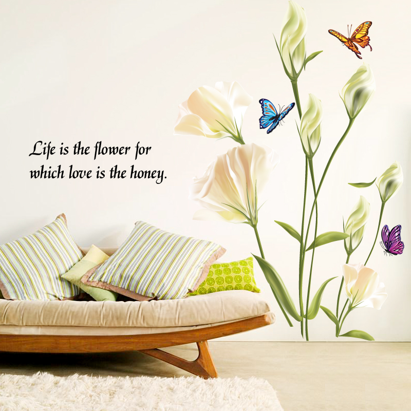 buy lily flower removable wall stickers living room corridor bedroom