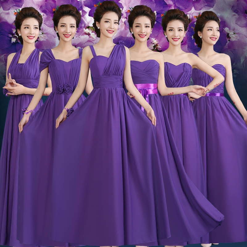 Married Edge Hi New Bridesmaid Dress Long Section Of The Sister Group Skirt Mother Banquet Evening With Purple In