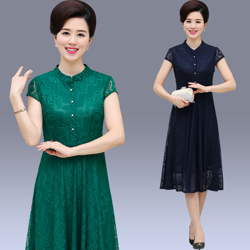 fc92a082e739 Elderly women summer dress and long sections mother dress casual skirt  woman woman dress 70 years old granny dress