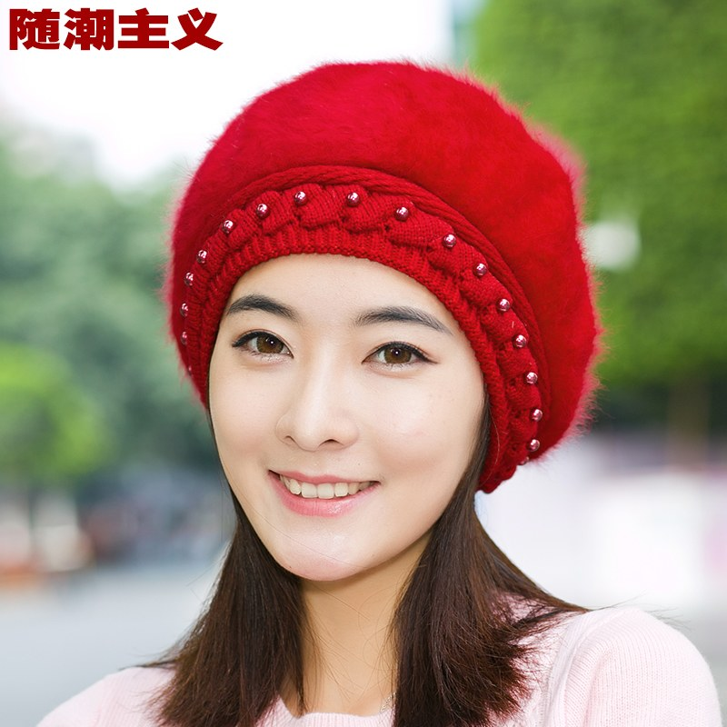 e5374853c12fc Ms. rabbit fur beret hat autumn and winter downs woolen winter korean  version of the bow bucket hats winter hats and caps for men and women