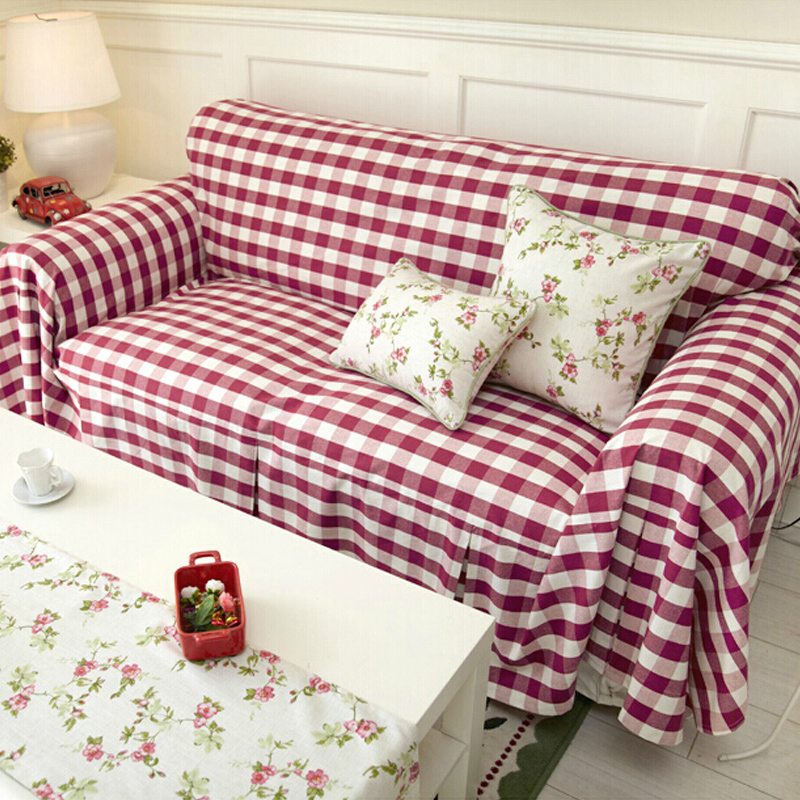 Buy Nuomai di barbie dyed red cell cotton slipcover sofa ...