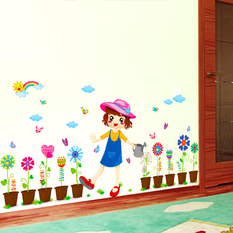 Buy Pastoral Style Rainbow Clouds Sunflower Flower Girl Cartoon Childrens Room Bedroom Wall Stickers Room Decoration Klimts In Cheap Price On Alibaba Com