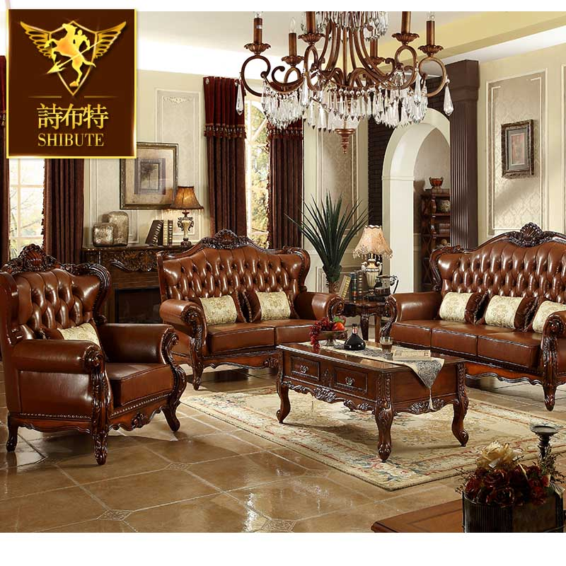 poetry bout solid wood sofa leather combination upscale living room furniture chairs sofas