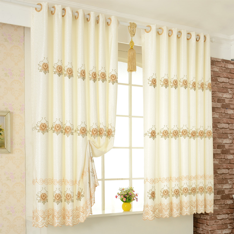 Buy Poly ming european cloth embroidered curtains finished ...