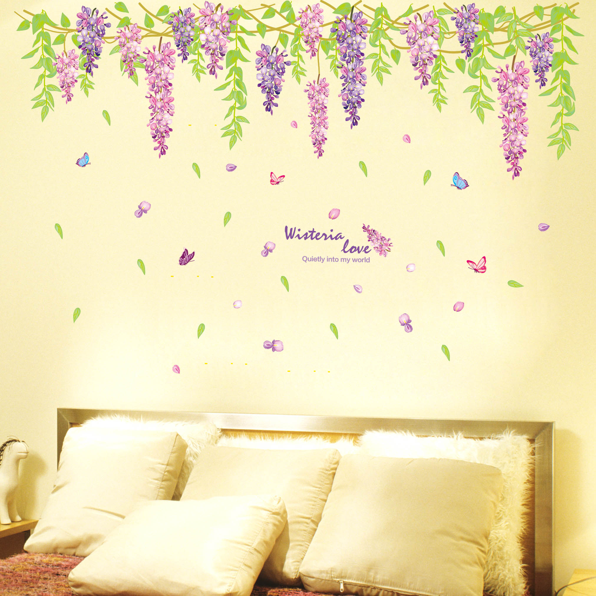 Buy Living room wall stickers bedroom bedside romantic wisteria ...