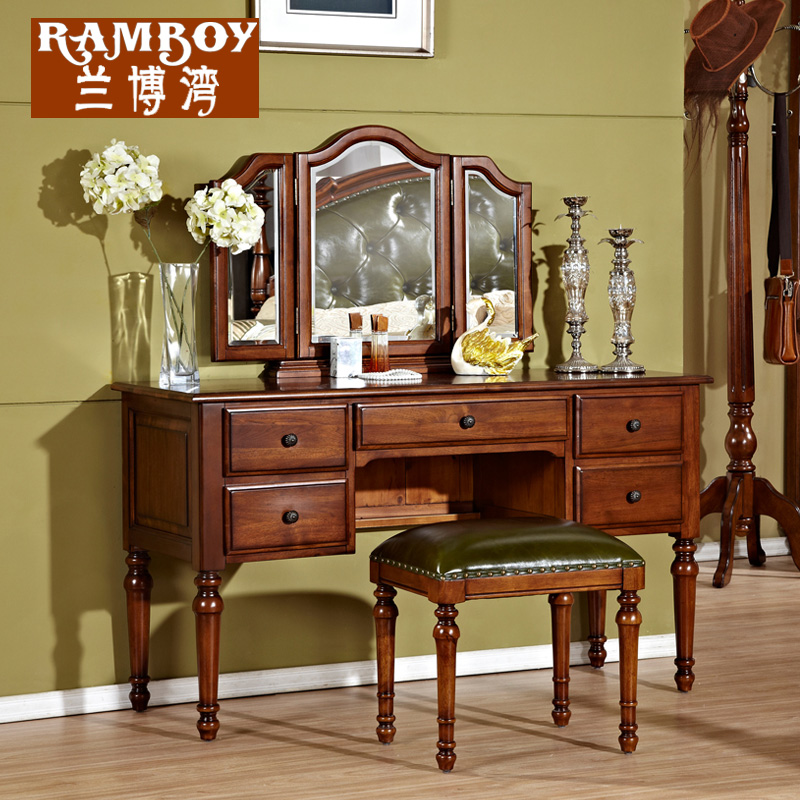 Rambo bay american all wood furniture dresser combination of european small  apartment bedroom dresser dressing table vanity benches